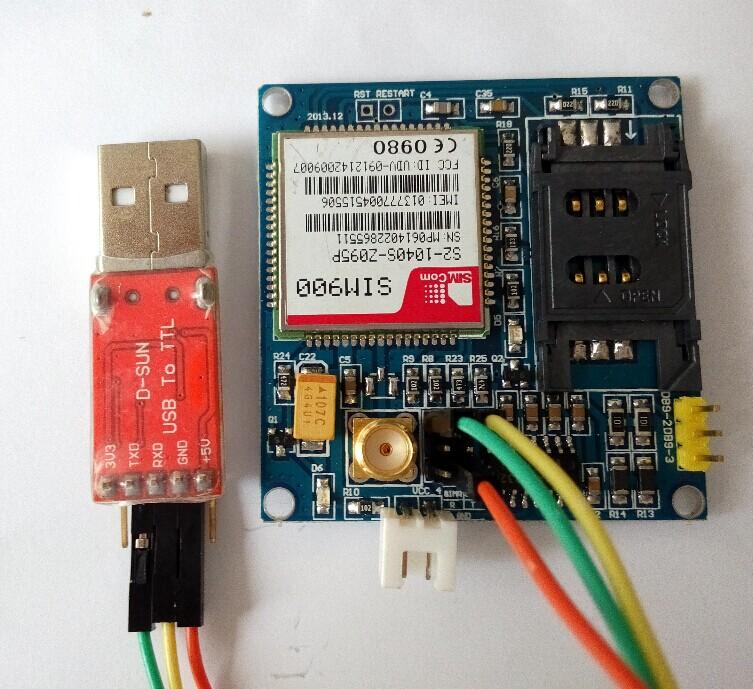 koneksi modul sim 900 gsm dengan usb ttl ke komputer